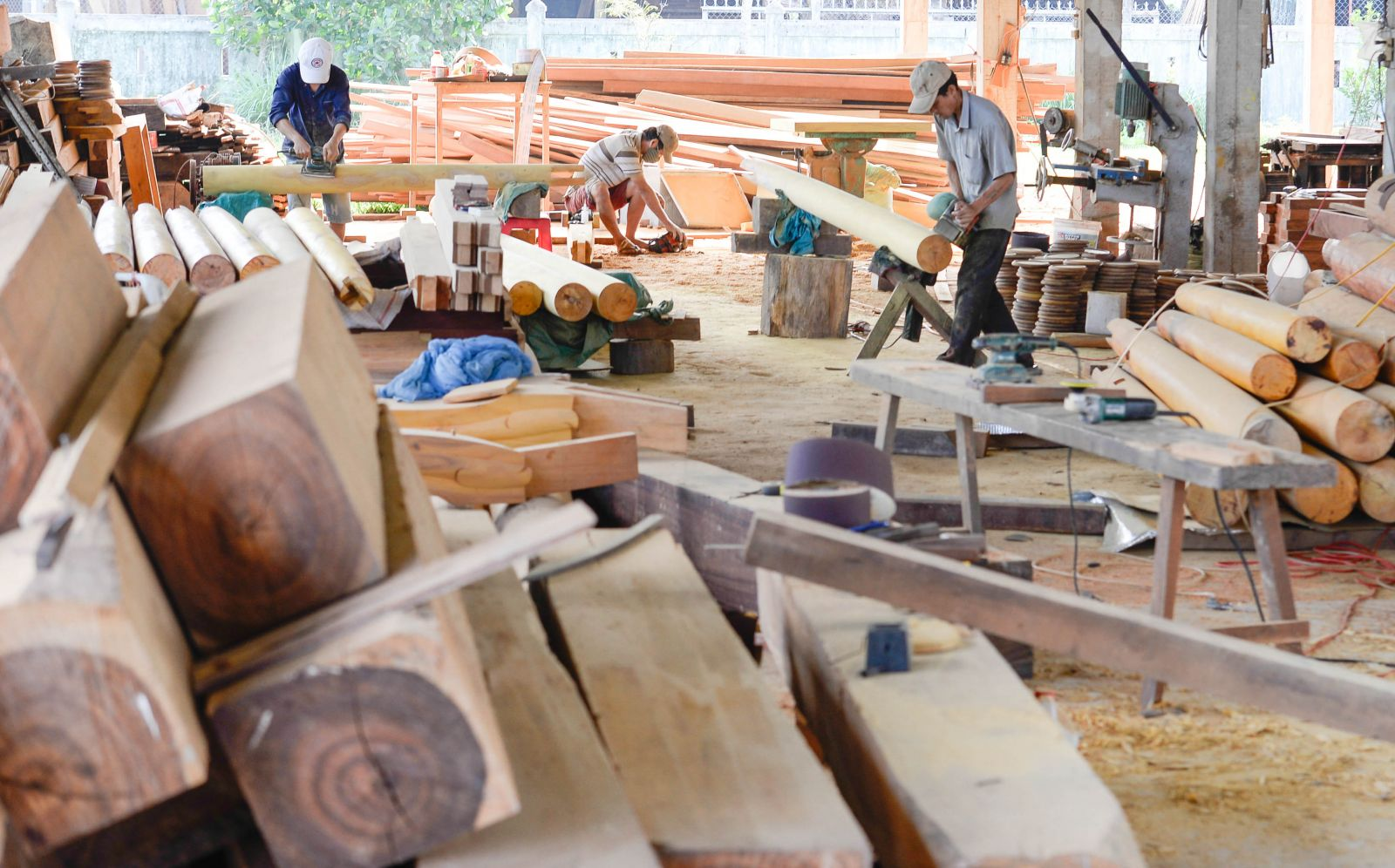 Materials are prepared at the sawmill before turning into products