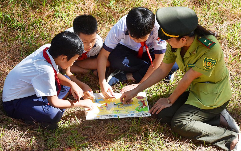 Giving direction and drawing the paintings about environment protection with the students