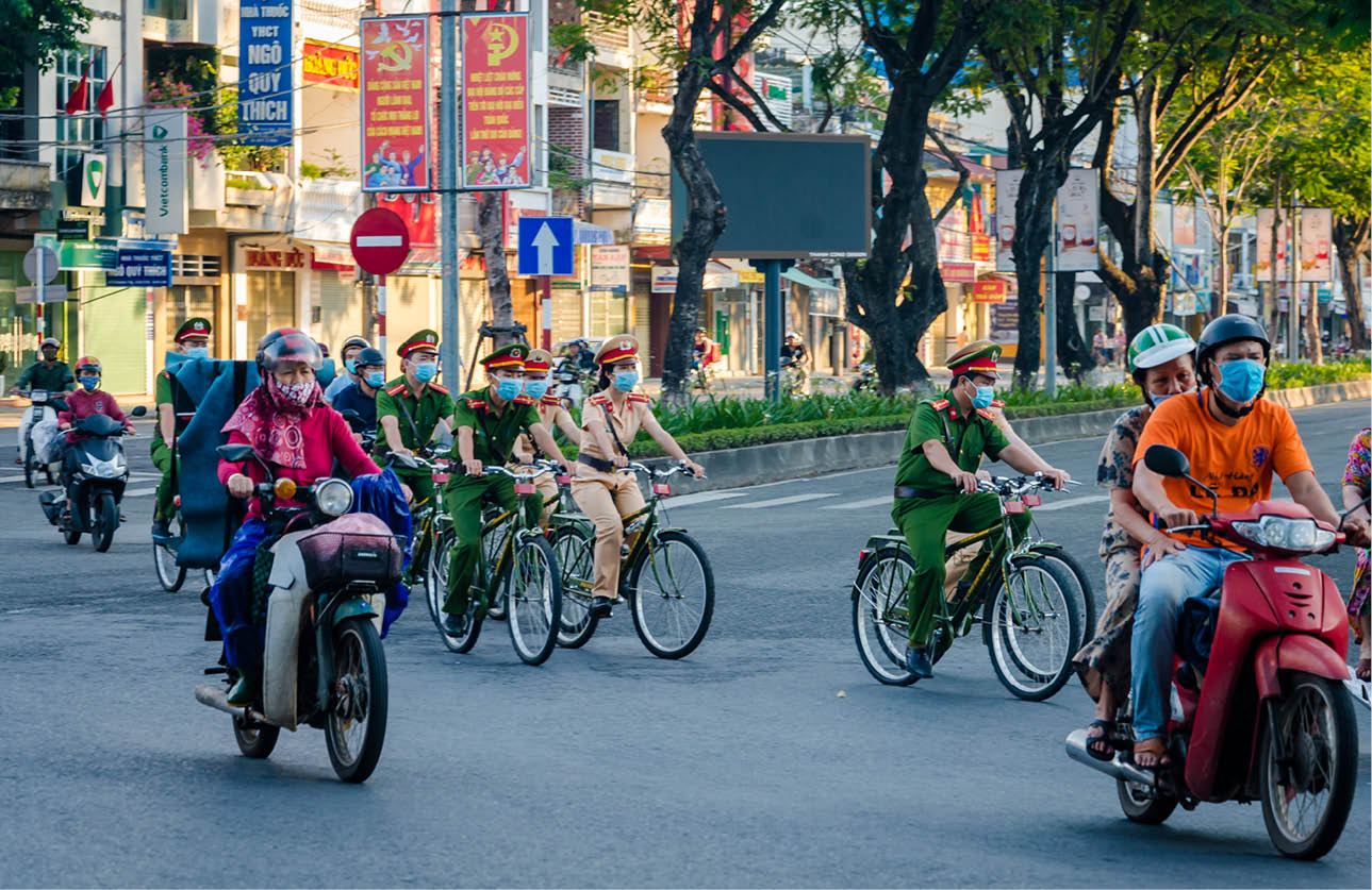 Patrolling on the walking paths along the Huong River banks and other streets