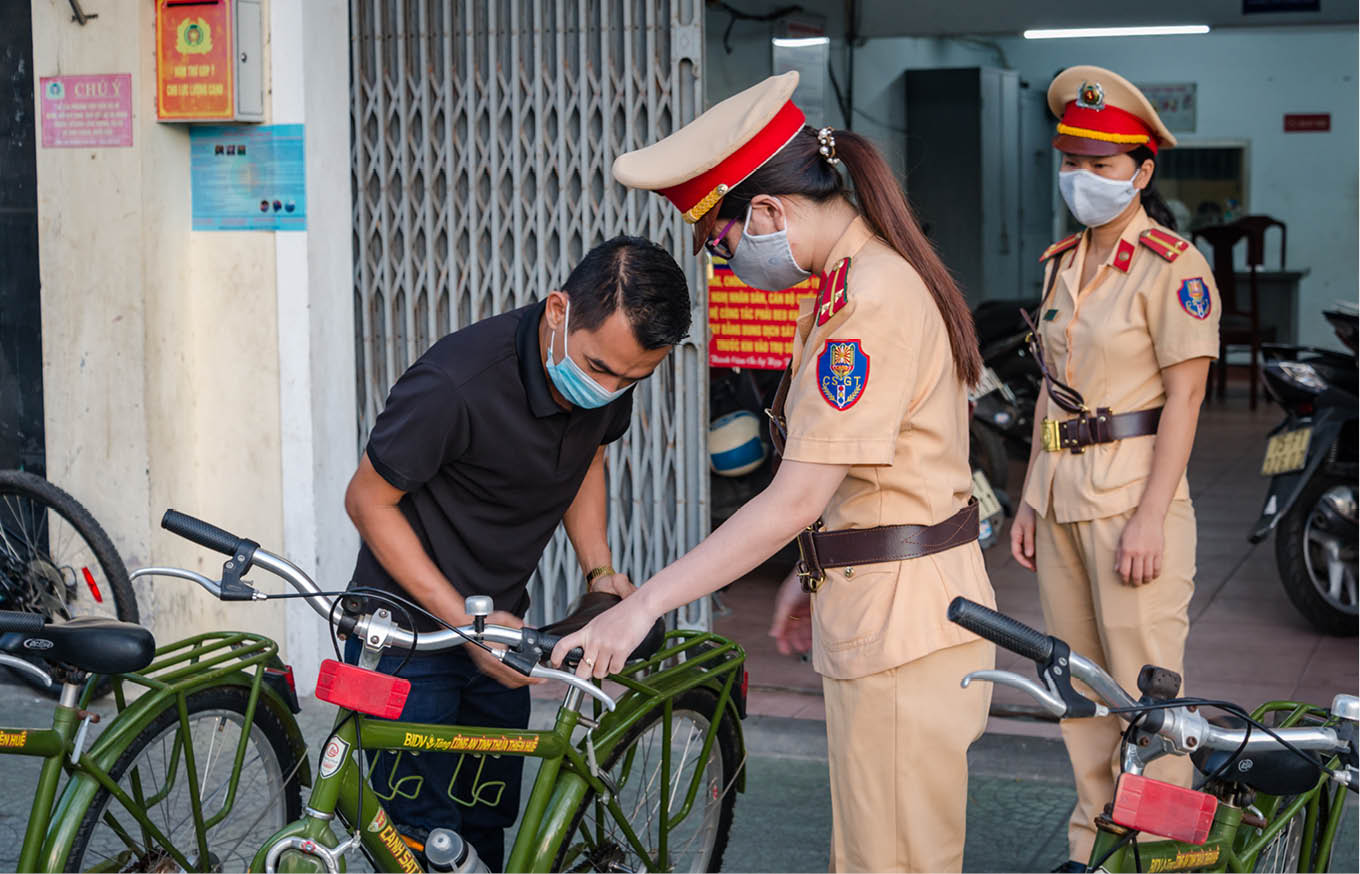 Checking the dedicated bikes before going on duty