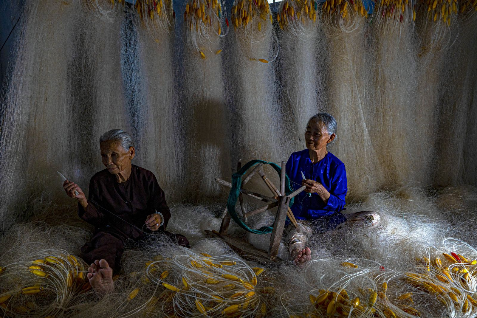 Most of all older women in the coastal region are proficient in doing net knitting
