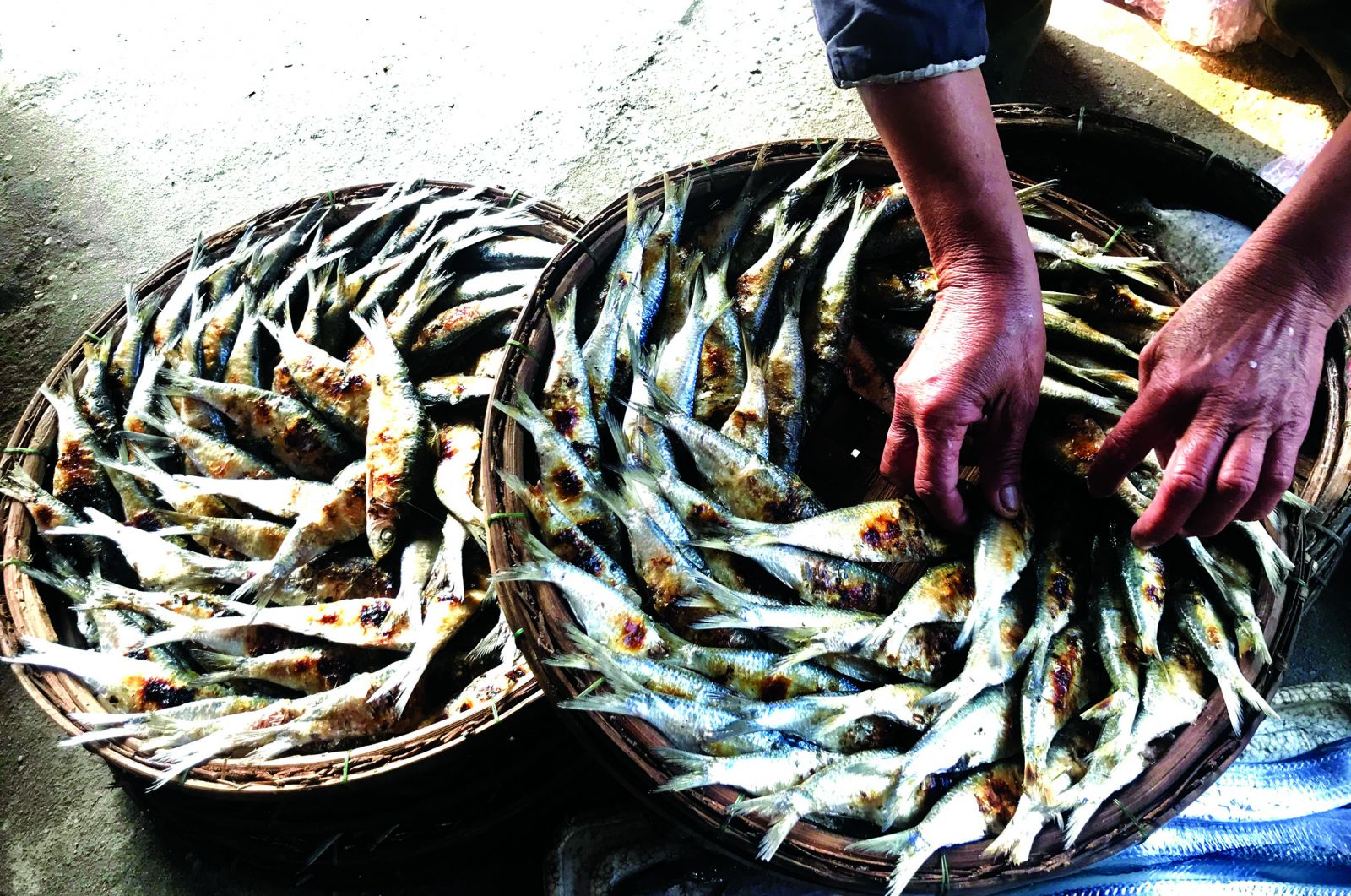 In addition to selling fresh fishes, making and selling grilled herrings is also a way to help local people increase their income