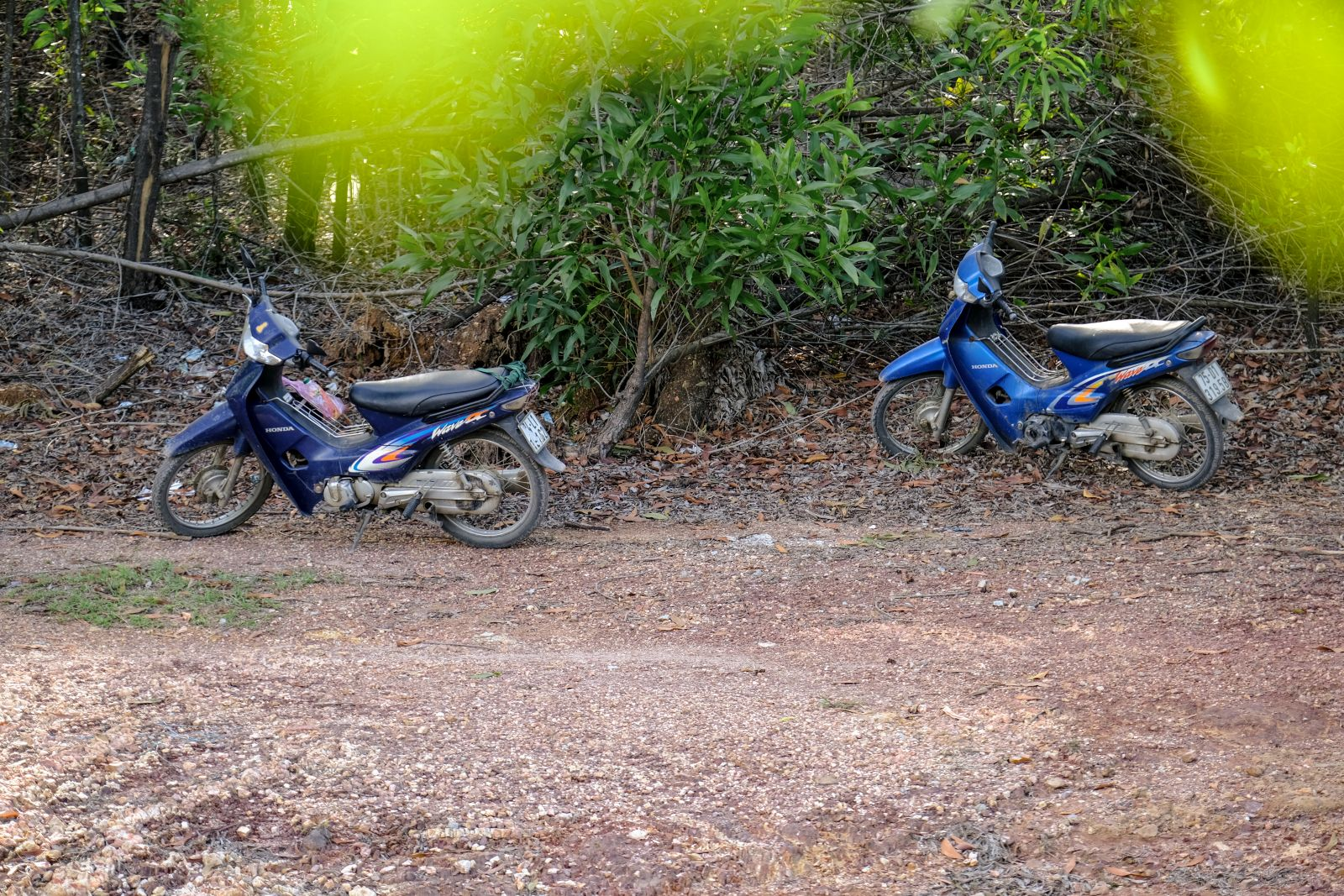 Local people's vehicles parked along the road as they went on to pick mushrooms