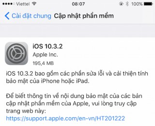Apple ra iOS 10.3.2 cho iPhone, iPad