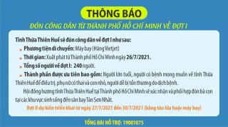 Welcoming Thua Thien Hue people back from Ho Chi Minh City by air for phase 1
